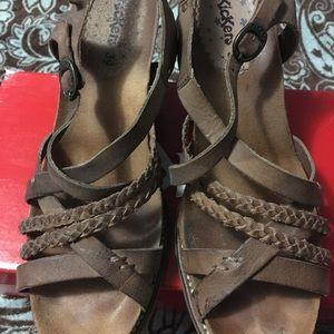 Kickers Strappy Leather Wedge Sandals Size 8.5